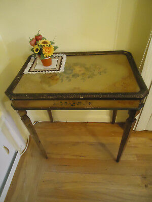 """Antique Vintage  Hand painted Wood Glass Coffee Table    24"""" x 16 1/2"""" x 26""""H"""