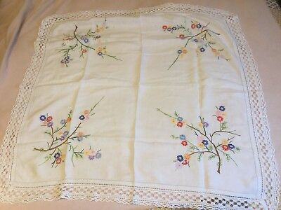 Vintage Hand Embroidered & Crochet Trimmed Tablecloth Beautiful Floral 91 x 95cm