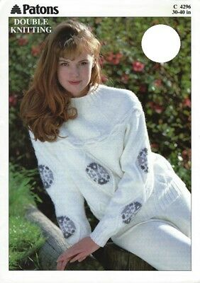 "PA4296 LADIES DK CABLED SWEATER KNITTING PATTERN 30-40""/76-102cm"