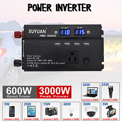 3000W Car Solar Power Inverter DC 12V To AC 110/220V Sine Wave Converter XY