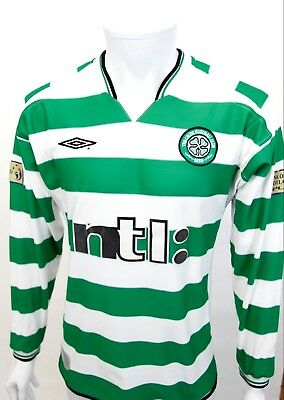 GENUINE 2001 HOME CELTIC FOOTBALL SHIRT NO 4 Mc NAMARA PLAYER ISSUE LONG SLEEVE