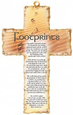 """Footprints Laser cut 6"""" Wooden Cross with Prayer Nice Religious Gift"""