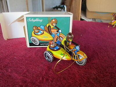 Schylling Tin Christmas Ornament Motorcycle with Side Car Xmas