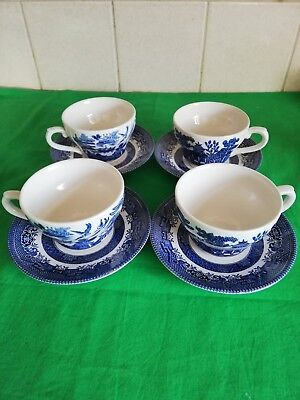 Churchill willow pattern Tea Cups And Saucers