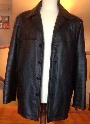 WILSONS M JULIAN Mens LARGE black Leather Car W/Zip-Out Liner in Great Condition