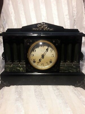 Rare 19th Century Six Column Style Antique Ingraham Mantle Clock Running