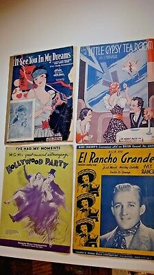 Lot of 4- Vintage Sheet Music 20-30's, Little Gypsy Tea Room, Hollywood Party, +