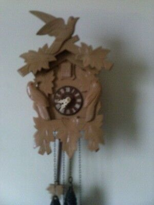 Used Cuckoo Clock:  Small 1 Day Vintage Black Forest Germany Working Condition..