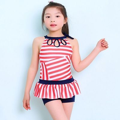 d21668bee7e Children Girl Swimming Clothes One Piece Swimsuit Striped Polyester Bathing  Suit