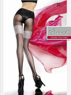 Fiore Lavis Backseam Mock Stocking Top Tights Pantyhose Blackw/ Silver 3 Sizes