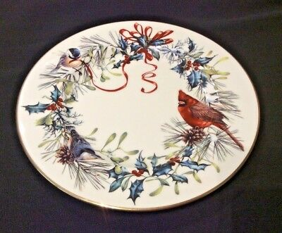 Lenox Winter Greetings Fine China Salad Plate Red Cardinal Holly Ribbons Gold Rm