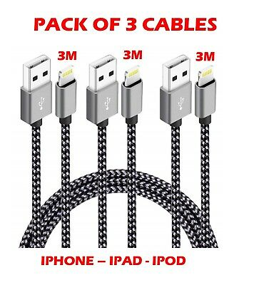 3M Extra Long Strong Braided Charger Charging Cable iPhone  7 8 X XS IPAD 6 6S