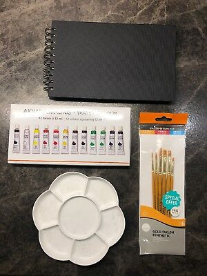 Art Supplies Kit (Watercolours, Palette, Brushes And Sketchbook)