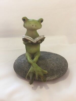 Frog Reading a Book Figurine Frog Collectible Resin