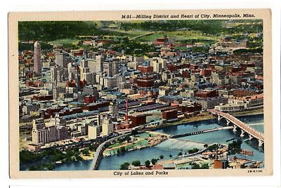 Milling District and Heart of City Minneapolis MN vintage linen postcard unused