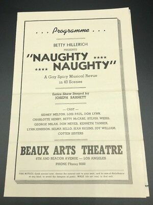 1940s Playbill Naughty Naughty A Gay Spicy Musical Review Beacon Ave Los Angeles