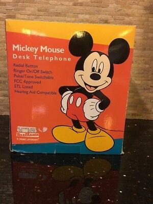 Vintage MICKEY MOUSE DESK TELEPHONE Rare Collector's Phone NIB Mickey Voice