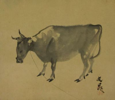 JAPANESE PAINTING INK 谷 HANGING SCROLL Antique Cattle Japan COW OLD VINTAGE 064i