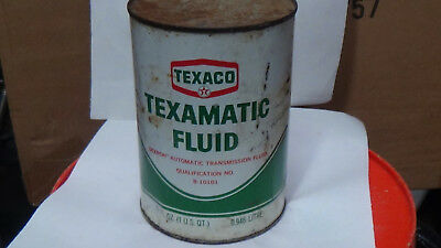 Vintage, full Texaco Texamatic trans fluid can, metal, advertising, gas and oil