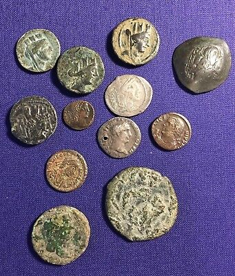 Lot Of 12 Ancient Coins Greek Roman Republic Imperial Byzantine Silver Bronze
