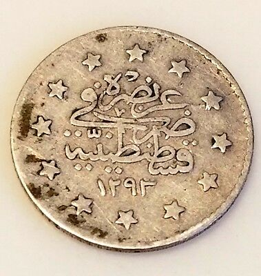 Turkey-Ottoman Empire Silver 0.8300 Coin 2 Kurush 1293//23 (Circulated)!!! (1)