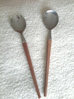 Mid Century Moden tapered  teak Wooden Handles  stainless steel SERVING SPOONS