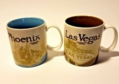 Starbucks Coffee Mugs LotOf2 PHOENIX & LAS VEGAS You Are Here Collection NEW