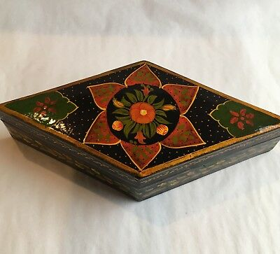 Vintage Papier Mache` Black Lacquer Box Large Flower Pattern Trinket Box Diamond
