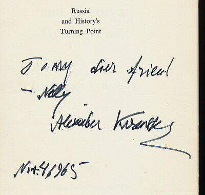 Alexander Kerensky (1881-1970) Autograph And Dedication In Author's Book 1965