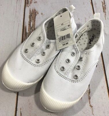 NEW CAT & JACK Mandy Laceless Slip On Canvas Sneakers Girls Size 13