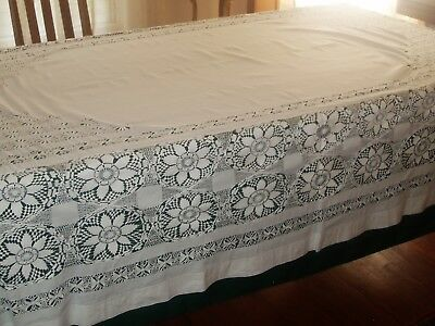 Stunning museum quality Irish Linen and lace banquet tablecloth