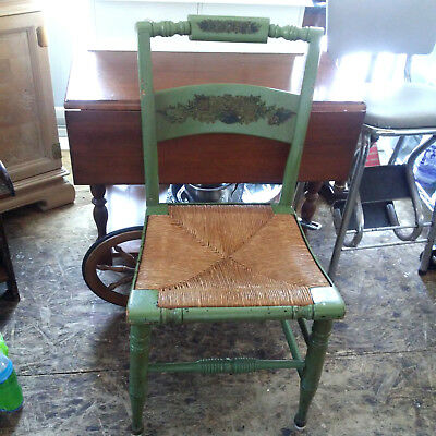 ANTIQUE Hitchcock Style Rush Seat Side Chairs Country Farmhouse Decor