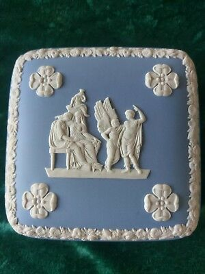 Vintage Exc Cond Wedgwood Jasper Pale Blue Candy Box Square, in Orig Box