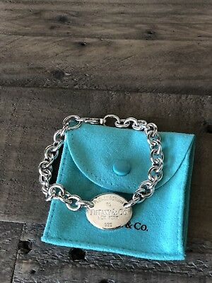 """Sterling Silver Tiffany & Co New York  Please Return To Oval Tag  Bracelet 7"""""""