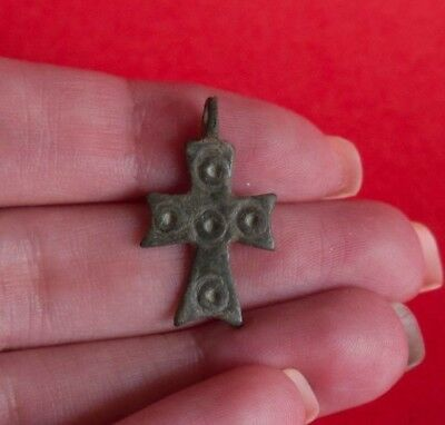 RARE Ancient Byzantine Bronze Cross Pendant Dotted Design 1819H