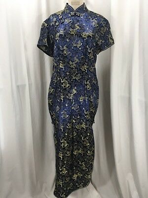 Vintage Inspired 1940's Navy Blue & Gold Dragon Cheongsam Dress