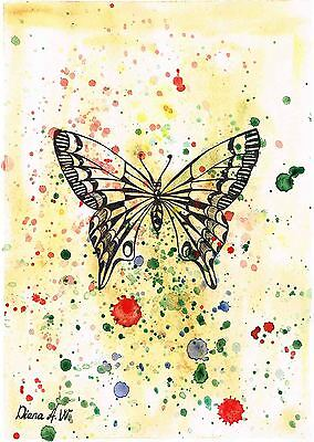 Black Butterfly, Original watercolour marker pen painting by Diana A.W.