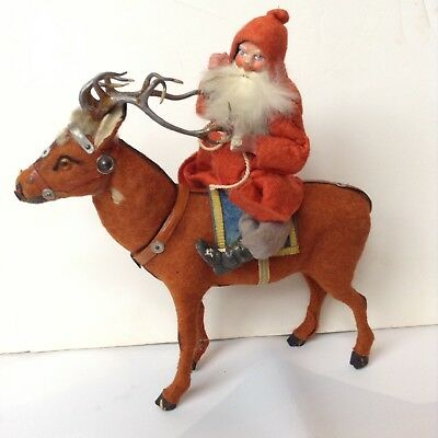 Antique German Santa Claus And Reindeer -RARE- Decoration