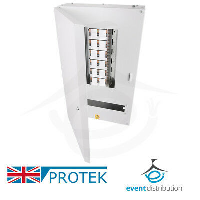 PROTEK 12 Way Distribution Board 3 Phase 125A Type B Industrial MCB Board