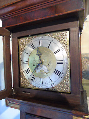 "Attractive Oak 8 Day Longcase clock, mahogany banding, 11"" brass dial, c.1775"