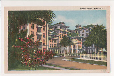 Waikiki Moana Hotel Front Entrance And Porte Cochere 1930's Vintage Post Card