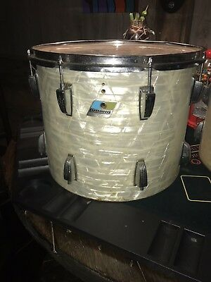"1970's Ludwig USA 14"" and 15"" CLASSIC WHITE MARINE PEARL TOMS, STAND and More"