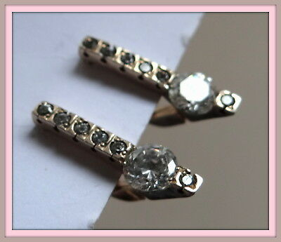Vintage STERLING SILVER 925 earrings  openwork  diamond cut Gold Plated signed