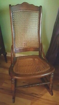 Antique 1800's Cane Rocking Chair! Wood Wooden Sewing & Nursing Cane Seat & Back
