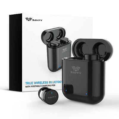 True Wireless Earbuds Headset Earphones Bluetooth 5.0 for Samsung iPhone-Black