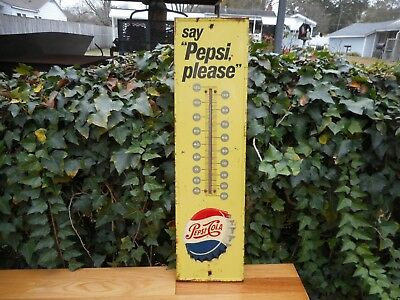 "Vintage 1950's Pepsi Thermometer ""Have a Pepsi"" 27"" Embossed Bottle Cap M-165"