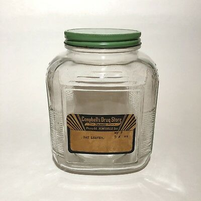 Antique Art Deco Campbell's Drug Store Herb Apothecary Glass Jar Huntsville Ont