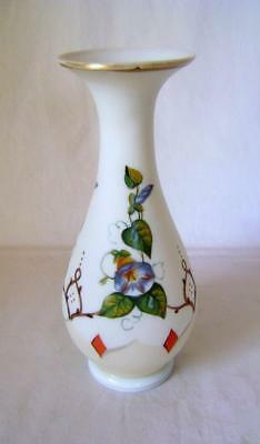 Pretty Victorian White Opaque Glass Vase with Enamelled Flower Decoration.
