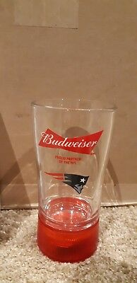 New Nfl Touchdown Budweiser  Red Light Glass- N.e Patriots Only $15.00