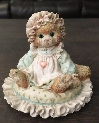 Vintage 1992 Enesco Calico Kittens Just Thinking About You Cat Figurine 627917